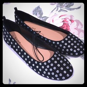 NEW Silver Studded Black Flats